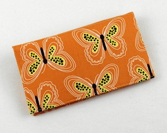 Butterflies Checkbook Cover for Duplicate Checks with Pen Holder on Orange Fabric