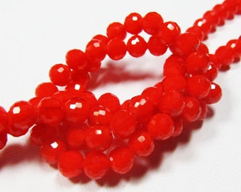 LOOSE Glass Beads - Glass Crystal Beads - 6mm Faceted Round - Opaque Velvet Orange (8 beads) - gla568