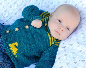 make your own Weehistoric Cardigan (DIGITAL KNITTING PATTERN) sized preemie to 4 years