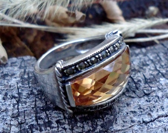 Topaz and Marcasite Ring - 2036