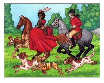 The Hunt Limited Edition Steampunk Fantasy Print - MATTED Red/Black