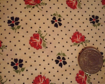 Vintage Small Polka Dot Floral Print 100% Cotton 1 yd