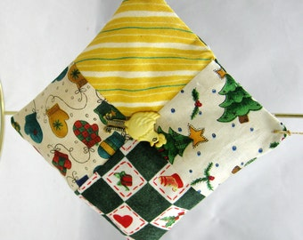 Four Patch Quilted Christmas Ornament with Chicken 102
