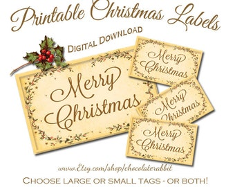 Christmas Tags Vintage Style Printable Digital Download DIY Scrapbooking Clip Art Image Graphics Collage Sheet