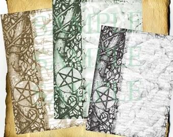 Pentacle Briar Parchment Digital 3 Page Set - Book of Shadows, Grimoire, Halloween Scrapbook, Spells