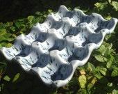 purple, blue, Ceramic egg crate, egg holder, farmers market, go green, re-usable packaging