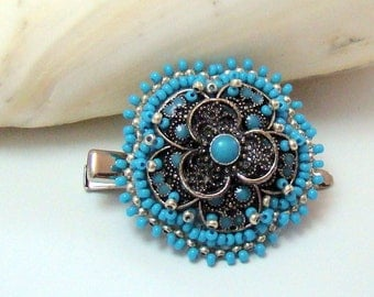 Handmade Turquoise Flower Bead Embroidered Clip or Pin, blue, silver, aqua, grey, barrette, brooch