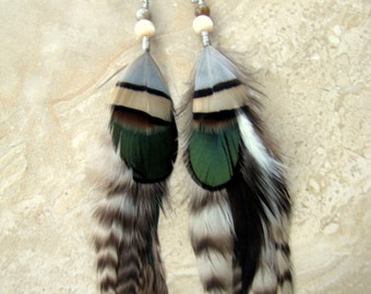 Beaded Feather Earrings - Natural Colors, Black and White Striped Rooster and Pheasant Feathers
