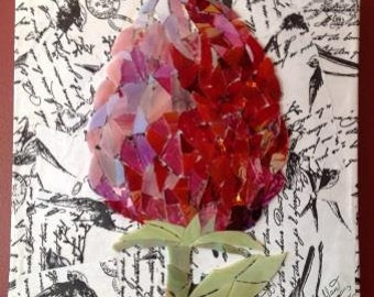 Flower glass mosaic art in pinks
