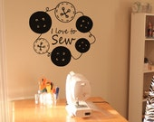 I Love to Sew Button Wreath creative craft room sewing wall decal sticker