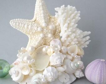 Beach Wedding Cake Topper, Nautical Wedding Cake Topper, Coral Wedding Cake Topper, Starfish Wedding Cake Topper, Cake Toppers,   #CTJC