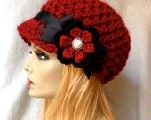 Valentines Crochet Womens Hat, Newsboy, Red, Very Soft, Chunky, Flower, Ribbon, Warm, Teens, Winter, Ski Hat, JE467N7