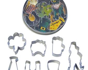 St Patrick's Day MINI Set of 7 Shamrock leprechaun, pot of gold, horseshoe, tie, beer mug, top hat Cookie Cutter