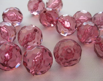 15 Plastic Pink Faceted Round Beads 1/2 Inch Rose Colored