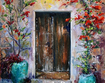 Giclee print of Italian Architecture,Oil Painting, Palette KNIFE, Italy, Door, IMPRESSIONIST, J Beaudet 8x10 inch