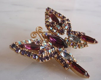 1950's Vintage Butterfly Brooch, Purple and Aurora Borealis  Rhinestones, goldtone