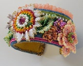 Floral bead embroidery  OOAK cuff