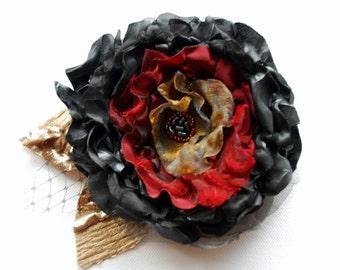 SALE- black red gold taffeta flower, weddings accessories, bride, bridesmaids, bridal hair clip, head piece, black rose, bridal black brooch