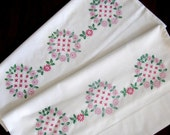 Vintage Embroidered Pillow Cases Floral Pink Green  New Old Stock Unused