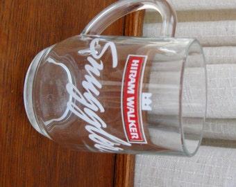 Vintage Coffee Cup Hiram Walker Snugger Whiskey Mug Red White Logo
