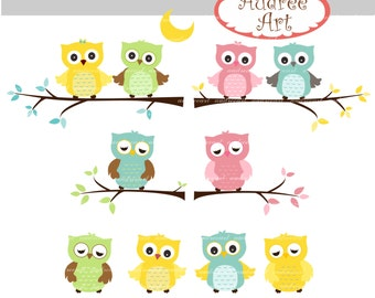 Owls clip art,cute owls and the branch,pink Owls,pink and blue owls,baby owls,color owls, invites cards, instant download