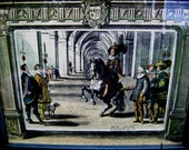 Vintage Horse Training Scene Fine Art Engraving, Lrg Framed w/ Glass, Antoine de Pluvinel, France 1600s, Hand Colored Equestrian Classic Art