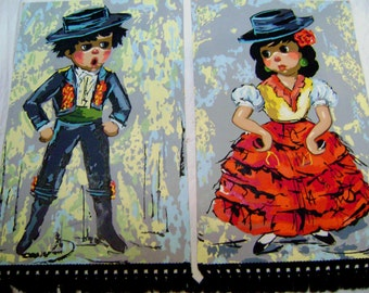 Pair of Vintage Paint by Number  Paintings, Flamenco Dancers, Spanish Boy Girl, Historical Kitsch, Cultural Pop Art, PBN, Fringed, Handmade