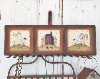 Hand Painted Primitive Tray with Sheep and Saltbox House