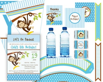 Monkey Birthday Party Items Printable - editable invitation - 12 pcs - Instant Download