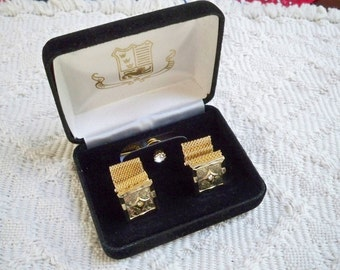 Vintage Accessories Cufflinks and Tie Tack 1960's Gold Tone with Rhinestones Groom Jewelry