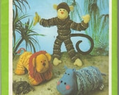Monkey, Lion and Hippo Toy Pattern Simplicity 9157