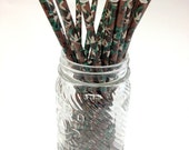 25 Camouflage Paper Straws - Perfect for Parties - Favors--Free Editable DIY Tags PDF