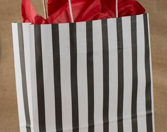 Black Stripe Paper Gift Bags w/twisted paper handle - 12 x 16 x 4 Inches - set of 50