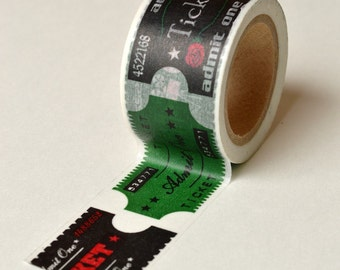 Washi Tape - Extra Wide 38mm - Cinema Ticket Admit One - Deco Paper Tape No. 763
