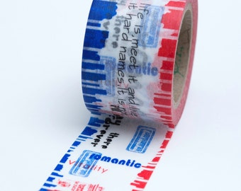 Washi Tape - Wide 30mm - Travel Themed City Red Blue - Deco Paper Tape No. 705