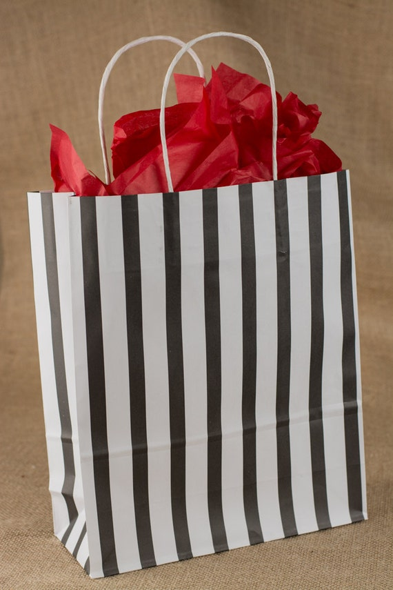 Items Similar To Black Stripe Paper Gift Bags W Twisted