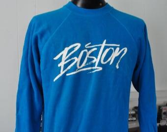 Rad 80s Boston Sweatshirt Neon 1980s 90s Awesome Font edm electro LARGE