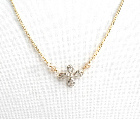 Sterling silver chandelier cross, gold filled dainty chain, faceted Crystals, minimal everyday necklace, gift for her under 40