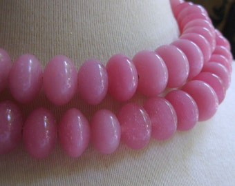 Light Raspberry Pink Lampworked Glass Rondelle Bead 11mm by 16mm 5pcs