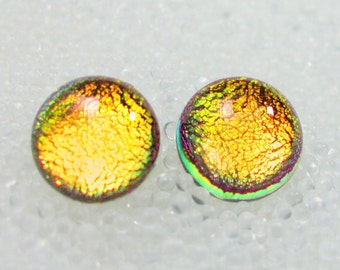 Dichroic Fused Glass Post /Stud Earrings, Sparkling Warm Fall Pumpkin Golden Yellow Orange
