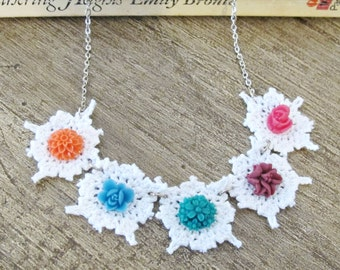 SALE Boho Doily Necklace Flower Shabby Chic White Pink Green. Purple Orange Jewellery Jewelry Two Cheeky Monkeys. Granny Women Rustic