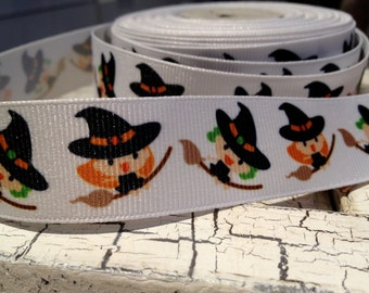 "3 YARDS 7/8"" Halloween Flying WITCH Broomstick GROSGRAIN Ribbon"