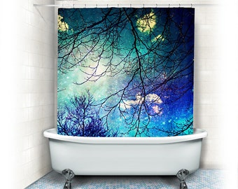 "Aqua Fabric Shower Curtain ""night sky"" clouds, stars,sky, night, trees,turquoise,blue, teal, bathroom, home decor,nature,whimsical"