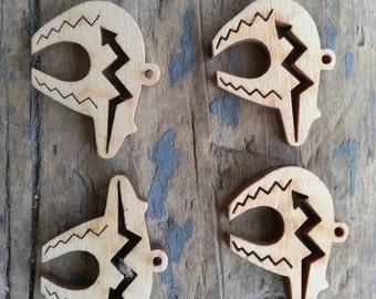 Tribal Bear  Laser Cut Wood Pendant- One Piece- Stock No. DESIGN17-LG