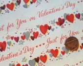 Vintage  1950's Hallmark Sheet Gift Wrap Valentine Roses
