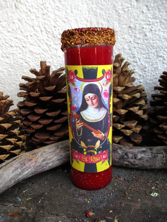 Rita's St. Rita Ritual Altar 7 Day Hoodoo Ritual Candle - Impossible Wishes and Causes - RESERVED Theresa