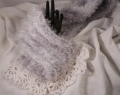 Scarf, 52 x 6 in, Silver, White, Knit, Crochet