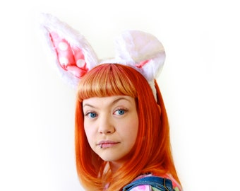 White Rabbit - Long and bendable luxury bunny ears headband - Pink polka dot