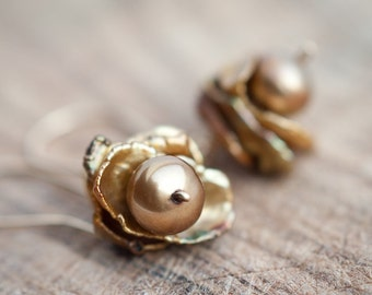 Dangle Earrings14K Goldfilled Organic Keishi Petal Pearls Brown Keshi terracotta rustic organic design