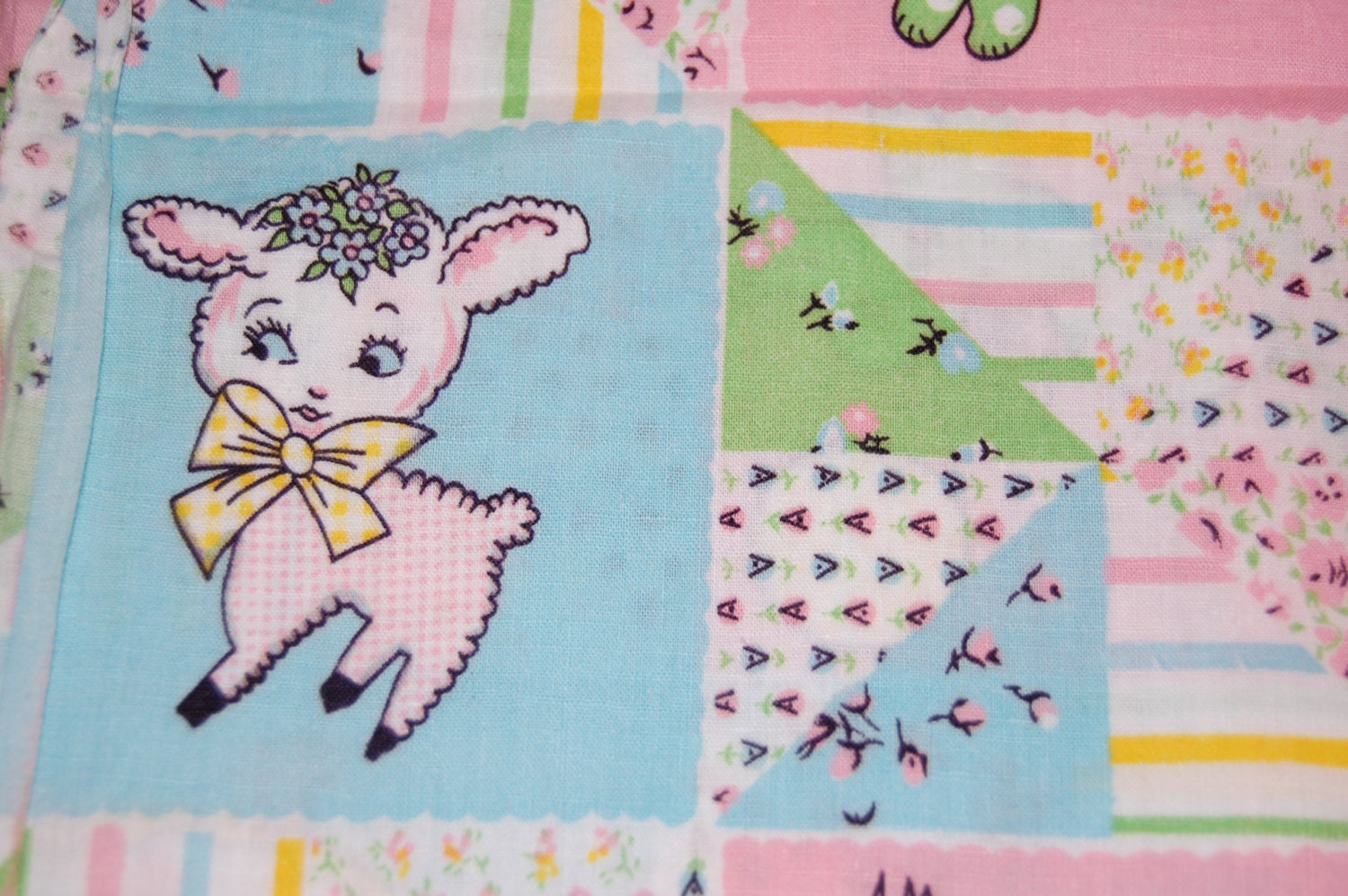 Oop out of print vintage retro baby fabric 22 inches for Retro nursery fabric